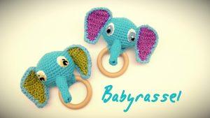 Babyrassel Zwillinge Ebby der blaue Elefant häkeln